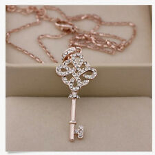 1x Wonderful Womens 9K Rose Gold Filled Key Style Necklace & Pendant L2S