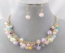 Pink Blue Multi Faceted Sparkly Bead Necklace Set Gold Fashion Jewelry NEW