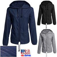 Women Men Jacket Waterproof Hooded Outdoor Windbreaker Outwear Pocket Raincoat