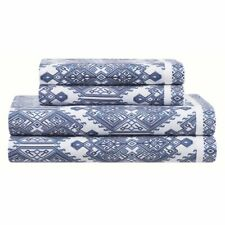 New listing 350 Thread Count King Size Sheet Set Navy/ White Geometric