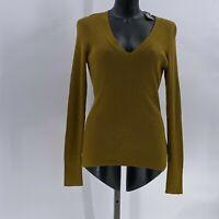 express Ribbed V-neck Sweater Olive sz M Medium NWT