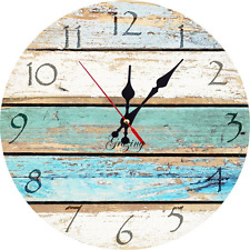 Beach Theme Wall Clock Look Old Vintage Hanging Shabby Round Home Decor Original