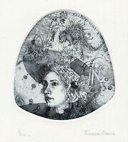 Fairy in Castle Rat Hat Original Surrealistic Ex libris Etching by E. Timoshenko