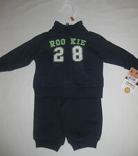 NWT Carter's Boys NB 2pc Cuddly Cute Combo Sweatsuit, Navy and Green, Rookie 28