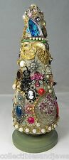 OOAK Vintage Costume Jewelry Christmas Tree Stand Alone Cone Rhinestones Charms