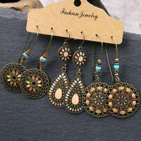 3 Pairs Boho Gypsy Tribal Ethnic Earrings Set Drop Dangle Festival Women Jewelry