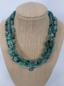 Beautiful Silpada 925 sterling Silver turquoise 4 Strands necklace
