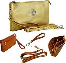 Large Gold Clutch Bag Multi Compartment Cross Body Messenger Wristlet Long Strap