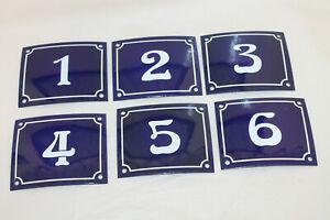 Vintage Style Blue Enamel Porcelain French House Number Door Metal Sign 123456
