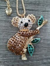 Eclectic Brown Australian Koala Bear Marsupial Rhinestone Necklace in Gift Box
