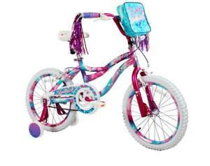 "18"" Kids Bike Girls Adjustable Training Wheels Bicycle Dipped Paint Soft Seat"