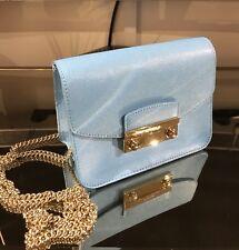 418024994f386 Furla Metropolis Mini turquoise leather bag with chain strap