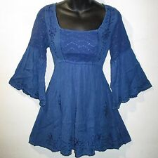 Top Large Blue Lace and Embroidery Empire Waist Long Tunic Wide Sleeves NWT 6707