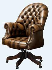 Chesterfield Vintage Directors Swivel Office Chair Antique Tan Leather