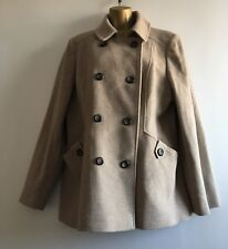 NEXT Ladies Camel Beige Double Breasted Wool Coat Size 18 UK
