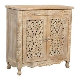 MADE TO ORDER Hand Carved Indian Style Solid Wood Natural Sideboard Floral
