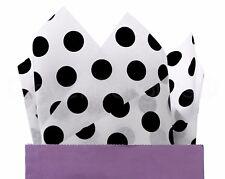 """100 Pack - Black Polka Dot Tissue Paper - 20"""" x 30"""" - Jumbo Gift Wrap Paper Bulk"""