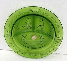 100th AnniversayTiara Exclusive Baby Plate Mint Green Glass Nursey New 1977