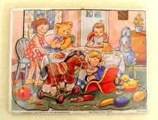 VINTAGE 1960s WOODEN JIGSAW PUZZLE 'THE DOLLS TEA PARTY' by GJ HAYTER