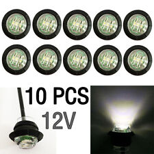 "10X Mini 12V White 3/4"" Round Side LED Marker Car Trailer Bullet License Light"
