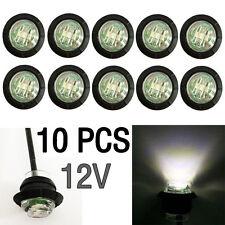 """10X Mini 12V White 3/4"""" Round Side LED Marker Car Trailer Bullet License Light"""