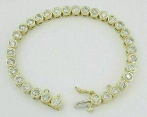 "8.00 Ct Round Brilliant Diamond 14K Yellow Gold Over Bezel Tennis Bracelet 7.5"""