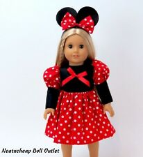 """Minnie Mouse Red Costume Dress Ear Headband  Fits 18"""" American Girl Doll 2pc"""