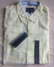 NEW GEOFFREY BEENE Sz L Yellow Blue Plaid Shirt Button-down men's S/S