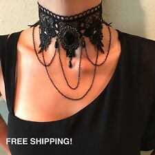 Punk Wedding Party Black Lace Choker Beads Chain Pendant Necklace