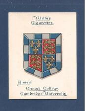 CHRIST COLLEGE  CAMBRIDGE UNIVERSITY  Coat of Arms 1922 original print card