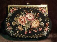 """Vintage Switkes Floral Needlepoint Handbag 12""""×16"""""""