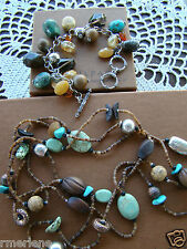 Silpada Set, Amber Jasper Howlite Wood Necklace N1569 & Bracelet B1648 Set $231