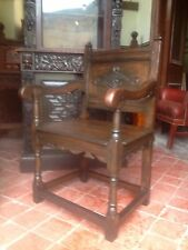 Splendid pair of 16th century style oak Wainscot armchairs Anglesey North Wales