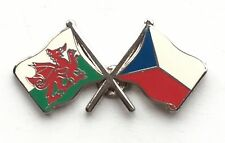 Wales & Czech Republic Flags Friendship Courtesy Enamel Lapel Pin Badge