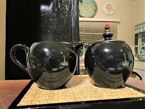 Royal Norfolk Black Ceramic Sugar Bowl with Lid & Creamer Set