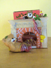 CERAMIC FIREPLACE CANDLE HOLDER. BEAR WAITING FOR SANTA FELL ASLEEP. WITH BOX.