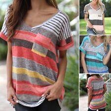 AU Summer Womens Stripe Tops Short Sleeve Casual Blouse T-Shirt Tee Plus Size