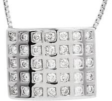 1.50ct VS/G-H Diamond 18K Gold Rectangle Cluster Slide In Pendant Fine Jewelry