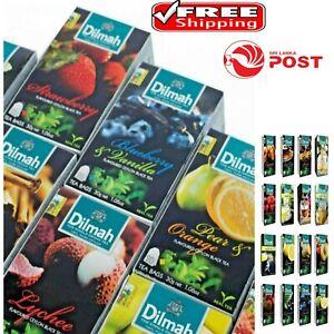 20 Tea bag Pure ceylon dilmah flavoured Black green tea cinnamon/ginger/strawber