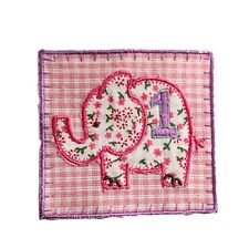 Embroidered elephant iron / sew on patch motif applique cute baby first birthday