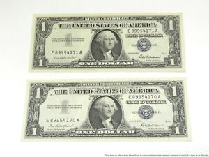 2 Consecutive 1957 Silver Certificate Uncirculated US Note Bills Anderson Priest