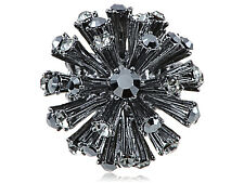 Gunmetal Super Dark Disco Ball Spike Ball Adj Fashion Ring on Stretch Band