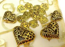 15 x Large Mix  Gold Heart Pendant 33mm (x2) and charms 15-23mm