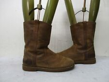 UGG Australia Brown Nubuck Leather Mid Calf Boots Youth Size 4 Style 1002069