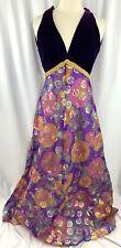 Vintage Brocade Velvet Purple Prom Evening Gown Dress Size 10 Gold Shimmer