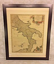 Frederik De Wit Antique Map of Naples Regnum Neapolis 17th C Hand Colored 1685