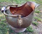 Vtg Copper Brass Coal log Ash Bucket  Lion Head porcelain Handle