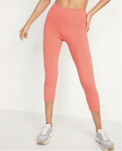 Old Navy Womens XXL Coral Active Balance Leggings Athletic Crop High Rise Go-Dry