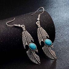 Vintage Women Turquoise Boho Leaf Long Drop Dangle Ear Hook Earrings Jewelry New