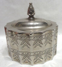 Beautiful Godinger Metal Silver Plate Lined Jewelry Box w Lid & Ornate Design